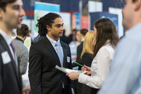A UNH student at the Career and Internship Fair at the Whittemore Center in 2016