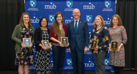 The 2019 Presidential Award of Excellence recipients include (L to R) Kristen Butterfield, Leila Paje-Manalo, Olivia Saunders, President Dean, Janine Wilks, Laura Simard