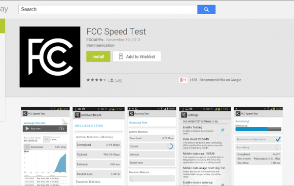 FCC Speed Test App for Android