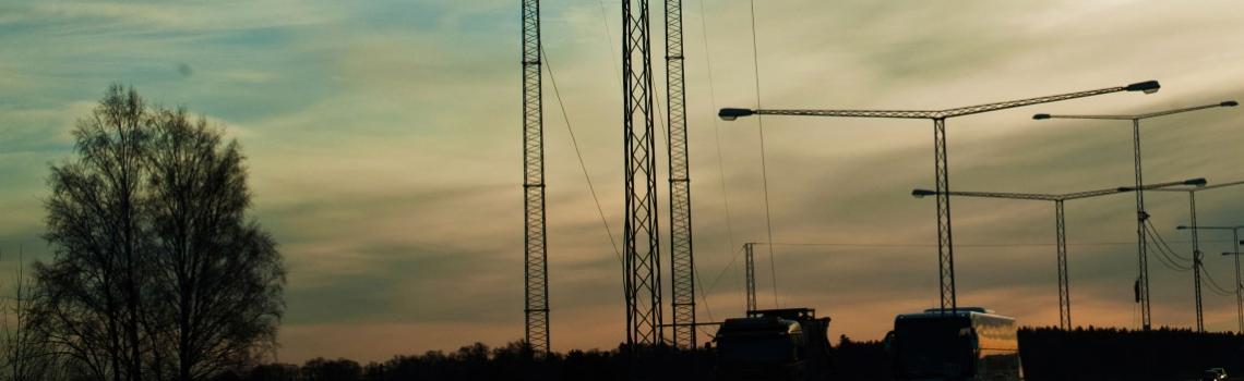 Rural highway at dusk