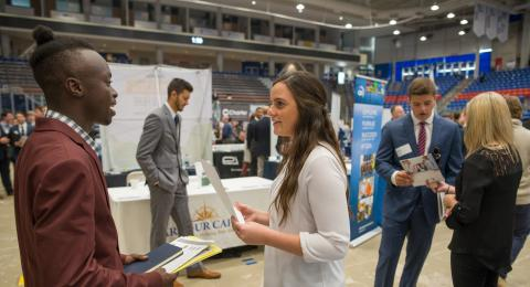 Students and employers at UNH Career Fair Event
