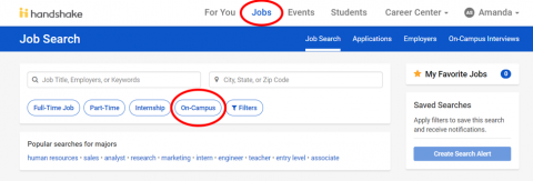 Handshake screen shot of job search filter