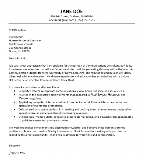 Image of Jane Doe's example cover letter template for UNH students to use