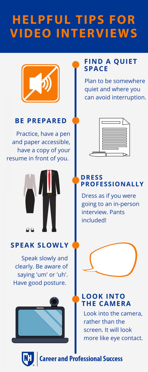Helpful Tips for Video Interviews: Find a Quiet Space, Be Prepared, Dress Professionally as if you were meeting in person, Speak Slowly, Look into the Camera