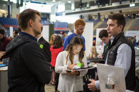 The University of New Hampshire holds the Career and Internship Fair twice a year at the Whittemore Center. Students and Employers are encouraged to meet and network.