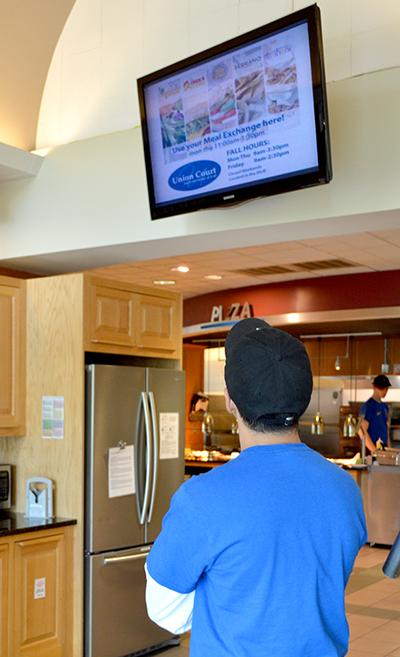 video monitor in dining hall