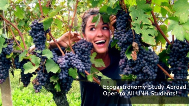 Woman posing with grapevines.