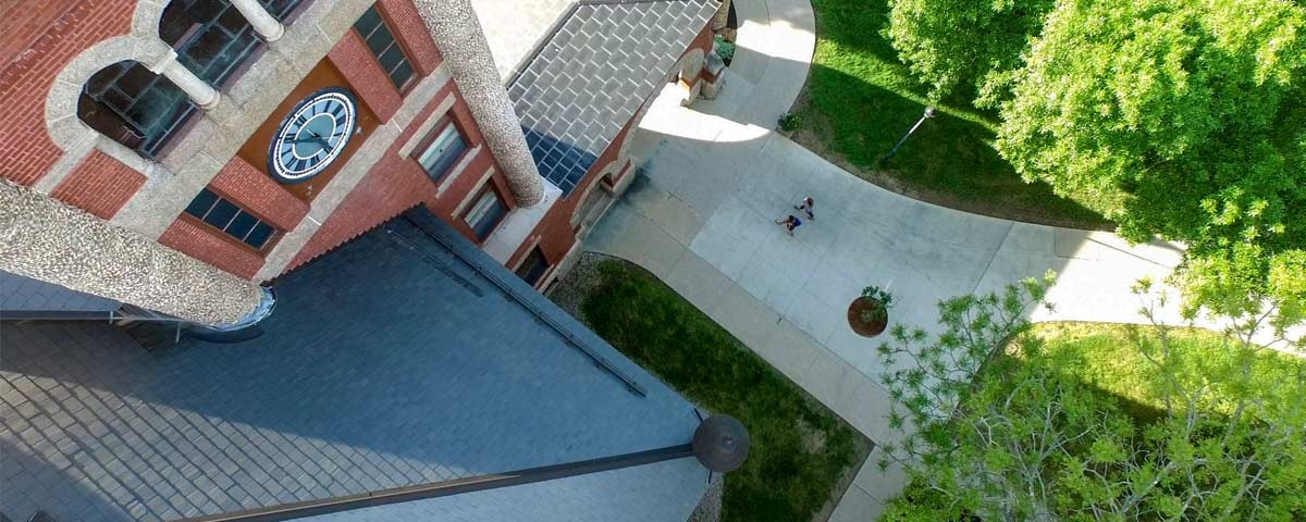 Aerial view of Thompson Hall in the summer