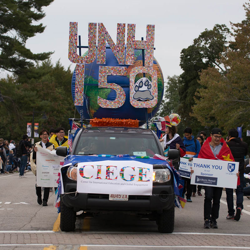 Photo from the homecoming parade of the CIEGE float.