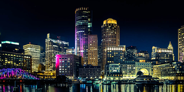 Night time photo of Boston skyline