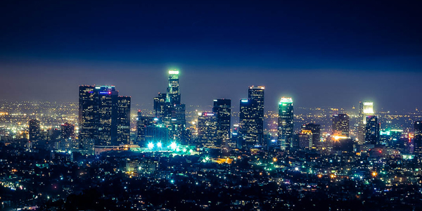 Night time photo of Los Angeles skyline.