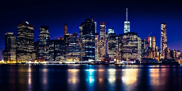 Nighttime photo of New York City skyline