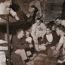 Old photo of students in dorm