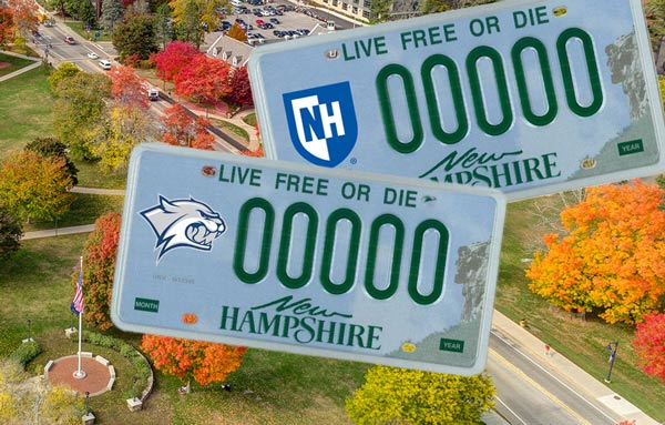 nh license plate with unh decal