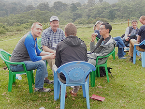 Mulago Agriculture Forum, Mt. Kenya (clockwise): Drew Conroy (in hat), Andrew Youn, MIchael Hundson (both of One Acre Fund), and Alexander Petroff (WVI)