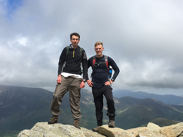 Garrett (r.) hiking with his U. of Chester mentor, Prof. Davies (l.)
