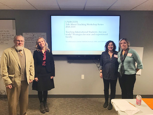 Presenters for the CEITL 2018-2019 workshop series from left to right: John Lacourse, Professor of Electrical & Computer Engineering; Nina Kositsky, Teaching & Learning Specialist, Global Student Success Program; Rachel Lachance, Senior Lecturer in the ESL Institute; and Nancy Sell, Senior Lecturer in the ESL Institute