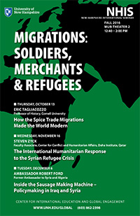 NH Int'l Seminar fall 2016 poster on Migrations: Soldiers, Merchants & Refugees