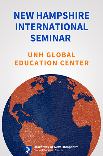 NH International Seminar offered by UNH Global Education Center, over blue and orange globe image