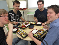 students at Saitama University eating their bento lunch