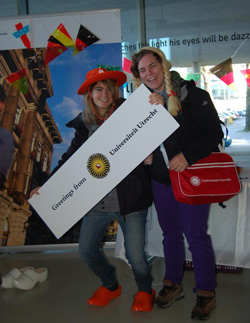 Emma Brown (l) '13 and friend at Utrecht University orientation