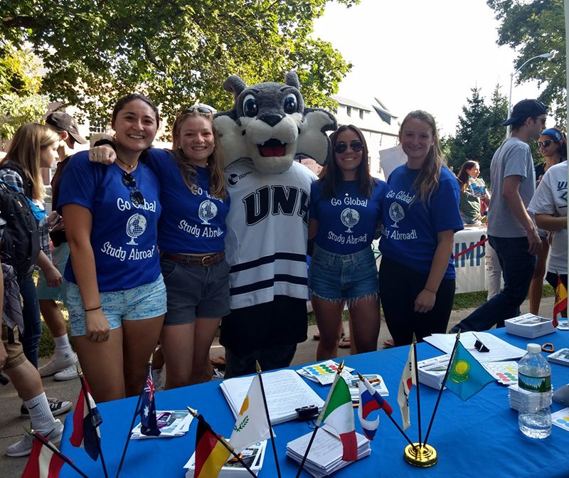 study abroad global ambassadors with Wild E. Cat at University Day
