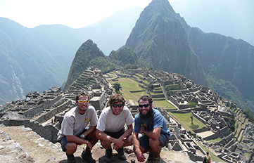 Brendan Sheehan '12 (center) with friends in Machu Pichu, Peru