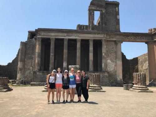 Madeline Manganello and friends at the Pompeii ruins in Italy