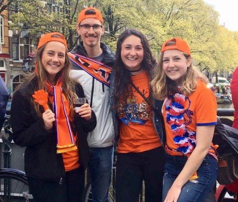 UNH student Jackie Klatt (second from r.) with friends celebrating King's Day in the Netherlands