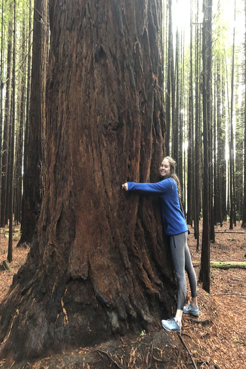 Madeline Kelchlin '17 hugging redwood at Wai-O--Tapu geothermal park in New Zealand
