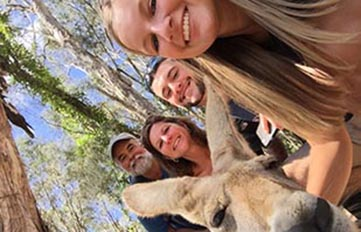 Jessica Lowe '18 (top) with her family in Australia