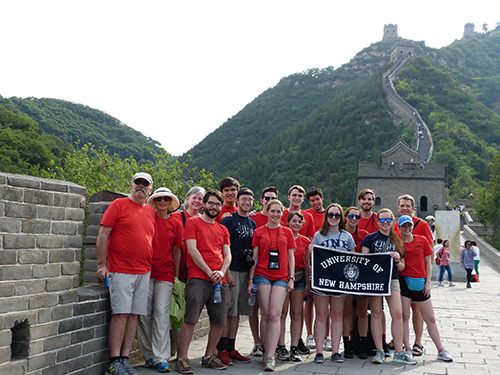 UNH group enjoying a visit to The Great Wall of China