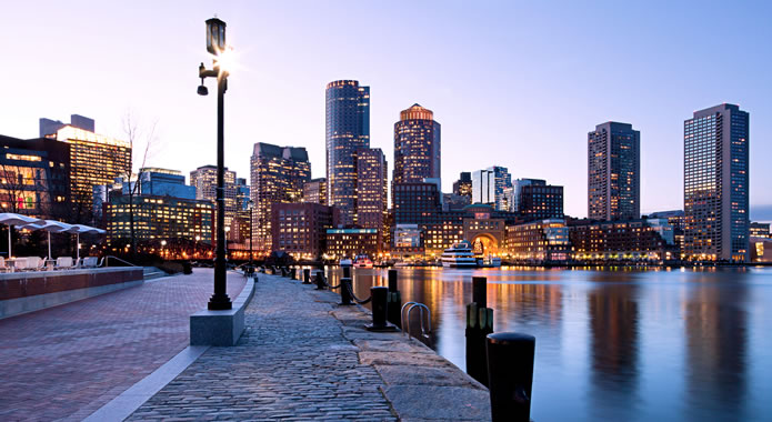 Downtown Boston, MA on the bay