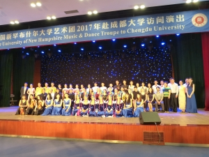 UNH student musicians and dancers on stage at Chengdu University