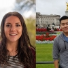 """(l. to r.) Fulbright awardee Shannon Bradley '17 and and Benjamin A. Gilman Scholarship recipient Weicong """"Tyler"""" Zeng '18"""