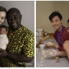 Denisa and Norbert Okolie with their daughter (l.) and Marco Yan and friend (at left of image on right)
