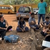 UNH students ((two women at left) with Goan students in India