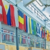 international flags hanging in Memorial Union Building