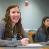 Heather Price '18 in a classroom at the UNH Peter T. Paul College of Business and Economics