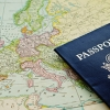 photo of U.S. passport laying on map of world