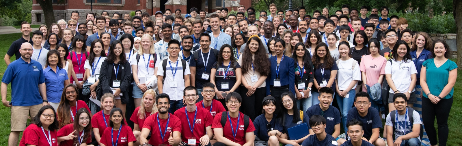 Incoming international students and scholars and OISS staff at fall 2019 orientation