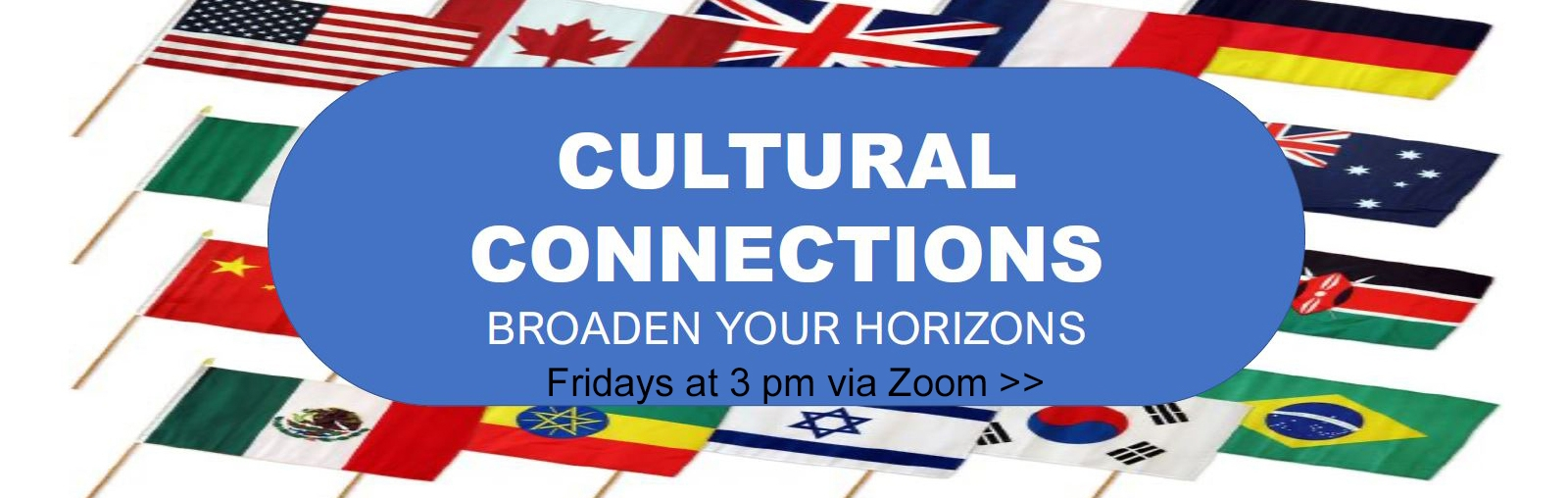 Cultural connections header, international flags in background