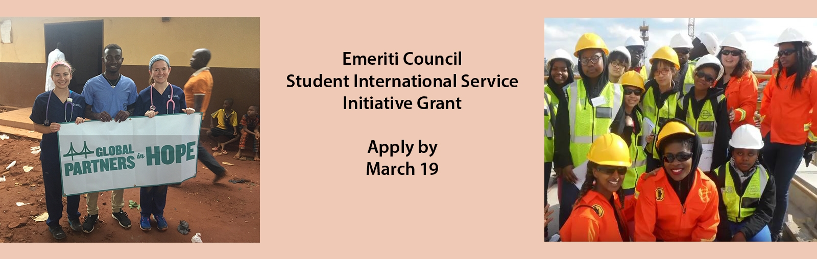 Apply for ECSISI grant by 3/19, flanked by two student groups working on projects