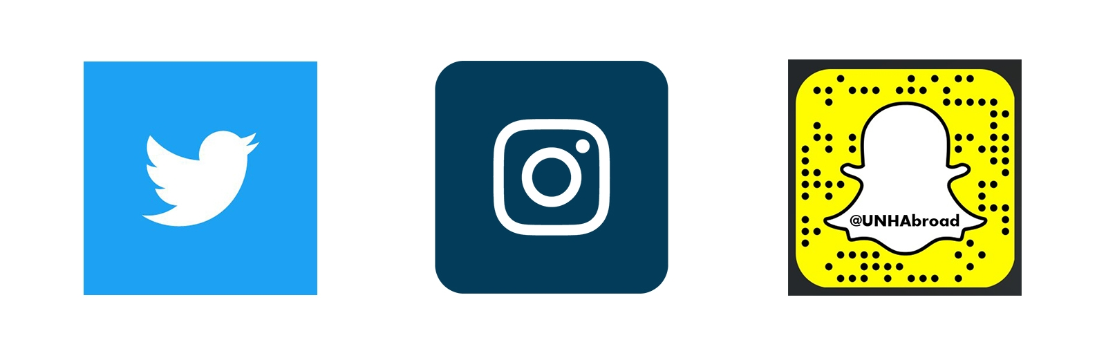 Twitter, Instagram, and Snapchat icons