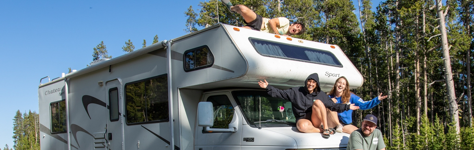Education Abroad advisor Mike Merrill (at front of RV) and his travel companions