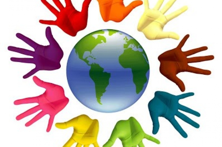 picture of colorful hands around blue and green globe