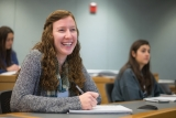 Heather Price in a classroom at the UNH Peter T. Paul College of Business and Economics