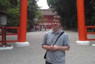 Cory McKenzie '15 at Kamigamo Shrine in Kyoto