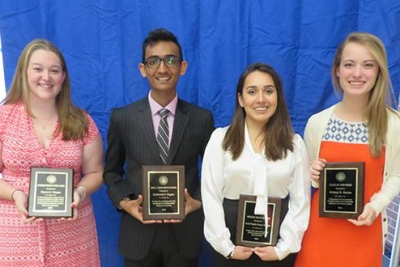 students pictured at awards ceremony