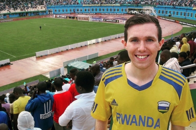 Ross Conroy '16 at a soccer game in Rwanda